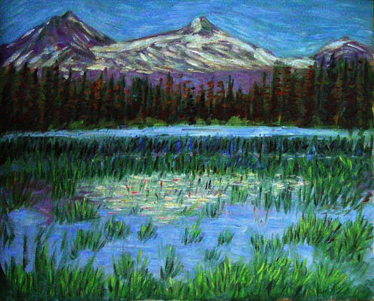 """Scott Lake by 3 Sisters Mountains"" Lakes & Mountains oil painting and prints by Pointillistic/Impressionist painter Paul Berenson"