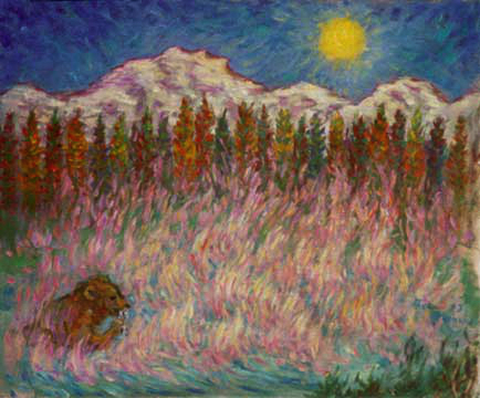 """Scott Lake"" Oregon oil painting and prints by Pointillistic/Impressionist painter Paul Berenson"