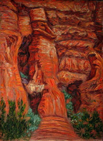 """Sedona Old Man Rock"" Sedona oil painting and prints by Pointillistic/Impressionist painter Paul Berenson"