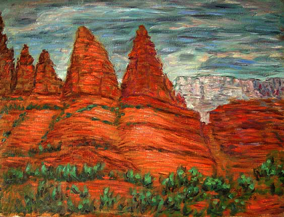 """Sedona"" Arizona oil painting and prints by Pointillistic/Impressionist painter Paul Berenson"