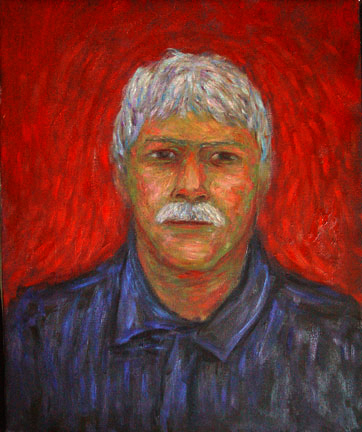"""Self Portrait '05"" Self Portrait oil painting and prints by Pointillistic/Impressionist painter Paul Berenson"