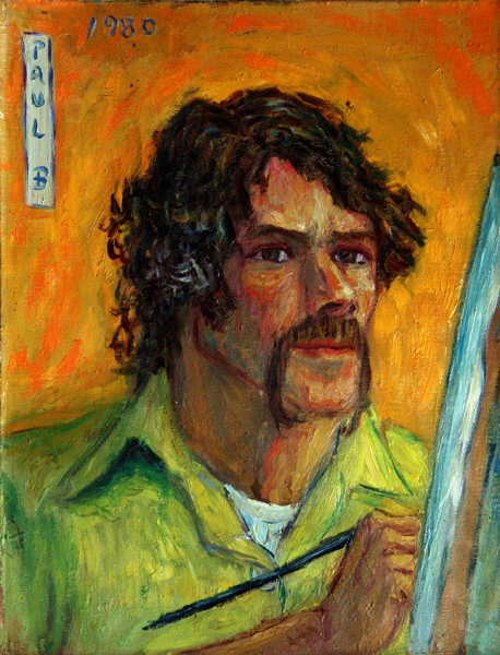 """Self Portrait on Orange at the Easel"""