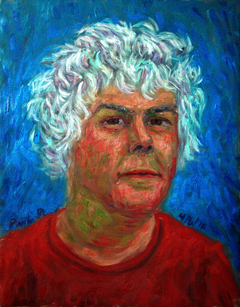 """Paul B 61"" Self Portrait oil painting and prints by Pointillistic/Impressionist painter Paul Berenson"