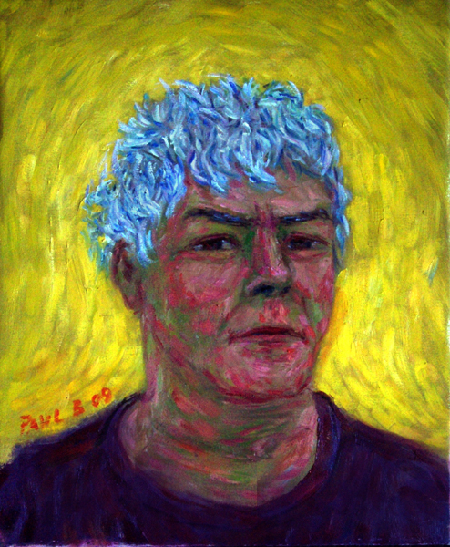 Yellow Self Portrait, 2009 Self Portrait oil painting and prints by Pointillistic/Impressionist painter Paul Berenson