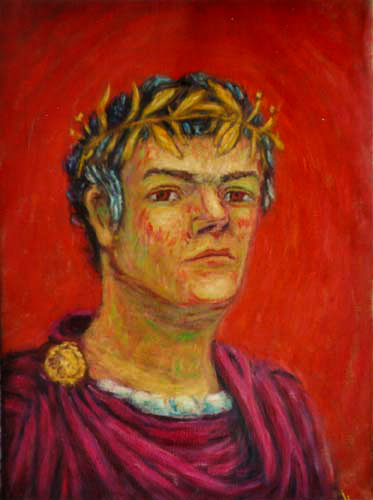 Emperor Paulus Berensonius Self Portrait oil painting and prints by Pointillistic/Impressionist painter Paul Berenson