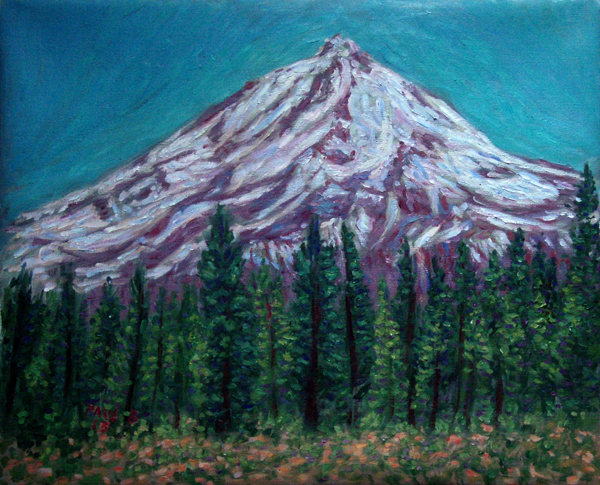 """Mt. Shasta's Eastern Face"" Mt. Shasta oil painting and prints by Pointillistic/Impressionist painter Paul Berenson"