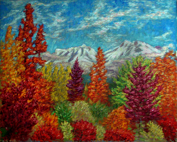 """Fall At Mt. Shasta"" Mount Shasta oil painting and prints by Pointillistic/Impressionist painter Paul Berenson"