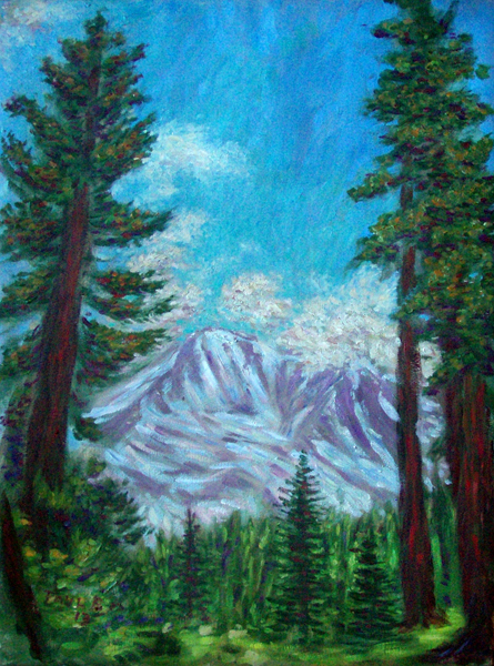 """Mt. Shasta from Bunny Flat"" Mountain oil painting and prints by Pointillistic/Impressionist painter Paul Berenson"