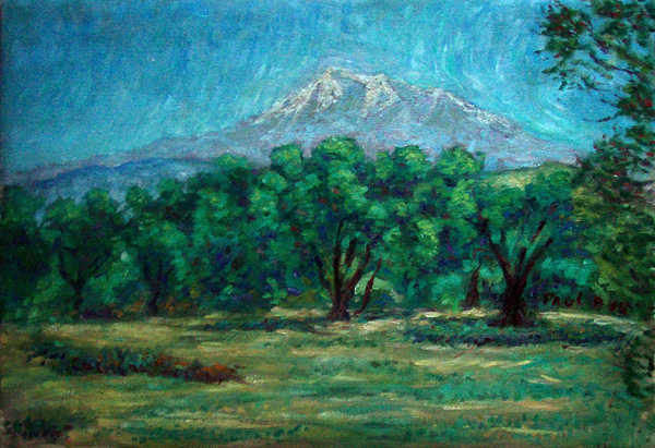 """Mount Shasta From the Klamath River"" Mount Shasta oil painting and prints by Pointillistic/Impressionist painter Paul Berenson"