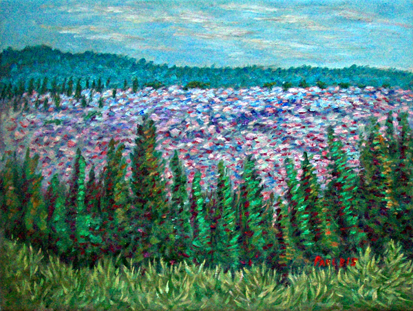 """Lava Field Behind Shasta"" Mount Shasta oil painting and prints by Pointillistic/Impressionist painter Paul Berenson"