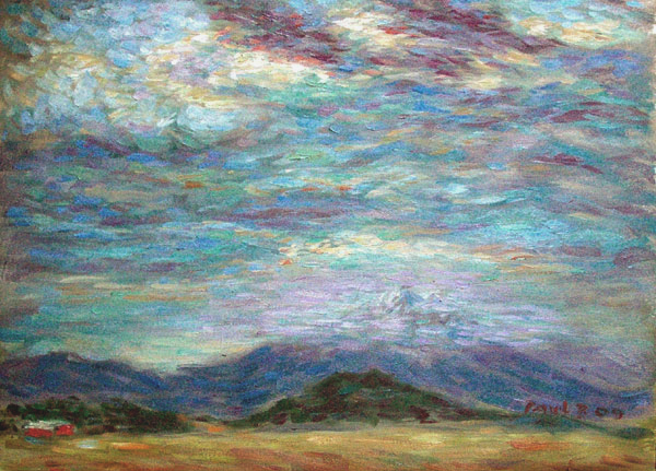 """Mt. Shasta Under A Stormy Sky"" Mount Shasta oil painting and prints by Pointillistic/Impressionist painter Paul Berenson"