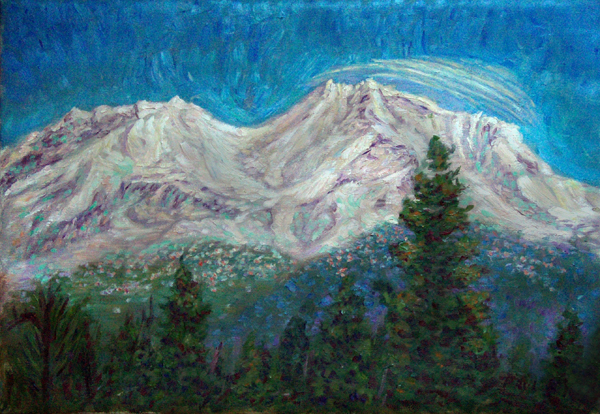 """The Vortex Spiral Over Mt. Shasta"" Shasta oil painting and prints by Pointillistic/Impressionist painter Paul Berenson"