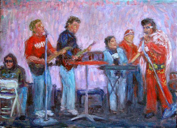 """Sidetrack Band With Vince Ferragamo and Husker Elvis"" Nebraska Football oil painting and prints by Pointillistic/Impressionist painter Paul Berenson"