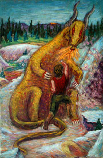 """Siegfried Slaying the Dragon Fafner"" Wagner Opera oil painting and prints by Pointillistic/Impressionist painter Paul Berenson"