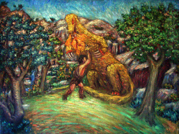 """Siegfried Slaying the Dragon Fafner"" Wagner's Ring oil painting and prints by Pointillistic/Impressionist painter Paul Berenson"