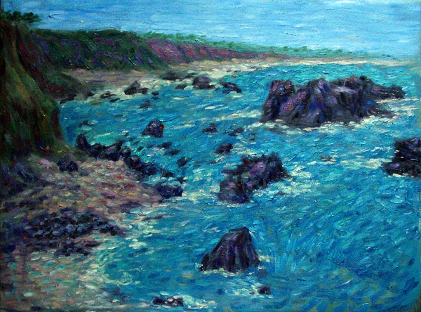 """PSonoma Coast"" California Coast oil painting and prints by Pointillistic/Impressionist painter Paul Berenson"