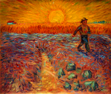 """The Sower"" (after Vincent) Classics oil painting and prints by Pointillistic/Impressionist painter Paul Berenson"