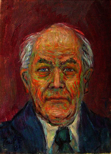 """Albert Speer"" Famous Portrait oil painting and prints by Pointillistic/Impressionist painter Paul Berenson"