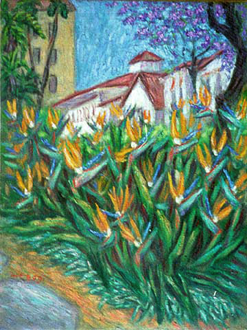 """Birds of Paradise on State Street"" Santa Barbara oil painting and prints by Pointillistic/Impressionist painter Paul Berenson"