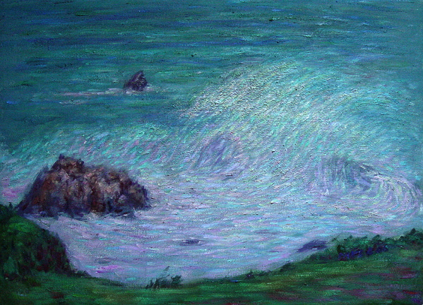"""Stormy Surf"" California Coast oil painting and prints by Pointillistic/Impressionist painter Paul Berenson"