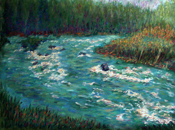 """Stormy Klamath River"" California Waterscapes oil painting and prints by Pointillistic/Impressionist painter Paul Berenson"
