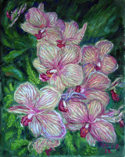 """Striped Orchids"" Hawaii Flowers oil painting and prints by Pointillistic/Impressionist painter Paul Berenson"