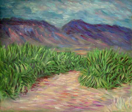 """Maui Sugar Cane Field"" Hawaii oil painting and prints by Pointillistic/Impressionist painter Paul Berenson"