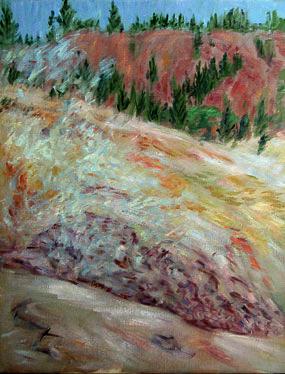 """Sulfur Works"" Lassen National Park oil painting and prints by Pointillistic/Impressionist painter Paul Berenson"
