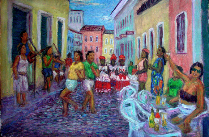 """Sunday Afternoon in the Pelourinho"" Brazil oil painting and prints by Pointillistic/Impressionist painter Paul Berenson"