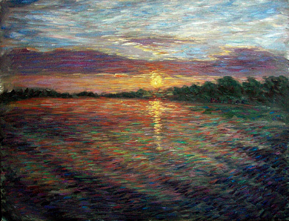 """Sunrise on Rio Negro"" Brazil's Amazon oil painting and prints by Pointillistic/Impressionist painter Paul Berenson"