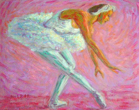 """Swan Lake"" Ballet dance oil painting and prints by Pointillistic/Impressionist painter Paul Berenson"