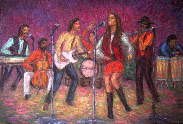 """Sweetwater"" 60's Rock Bands oil painting and prints by Pointillistic/Impressionist painter Paul Berenson"