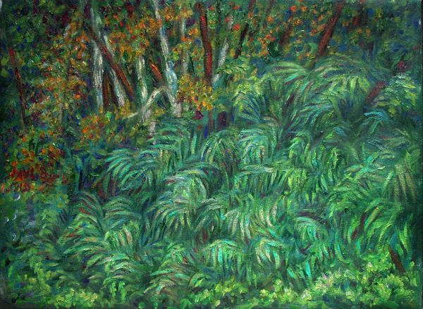 """Sword Ferns"" California Coast oil painting and prints by Pointillistic/Impressionist painter Paul Berenson"