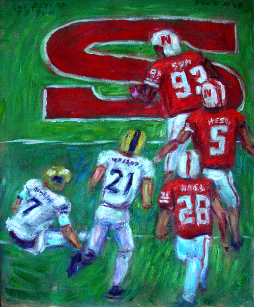 """TD Suh"" Nebraska Football oil painting and prints by Pointillistic/Impressionist painter Paul Berenson"