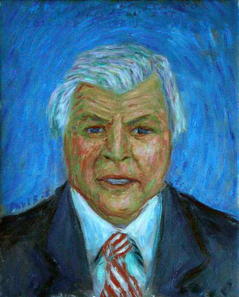 """Senator Ted Kennedy"" Portrait oil painting and prints by Pointillistic/Impressionist painter Paul Berenson"