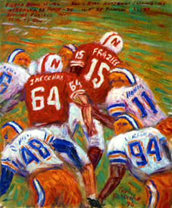 """Tommie Frazier 75yd. TD"" Nebraska Football oil painting and prints by Pointillistic/Impressionist painter Paul Berenson"