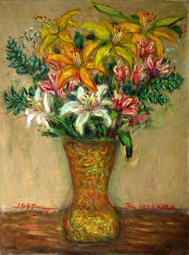 """Tiger Lilies"" Flower Bouquet oil painting and prints by Pointillistic/Impressionist painter Paul Berenson"