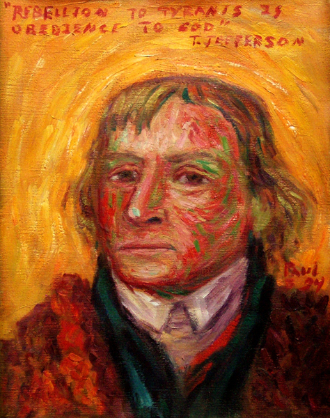 """Thomas Jefferson"" Jefferson Portrait oil painting and prints by Pointillistic/Impressionist painter Paul Berenson"