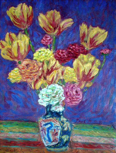 """Tulips Ranunculas in a Chinese Vase"" Flowers oil painting and prints by Pointillistic/Impressionist painter Paul Berenson"