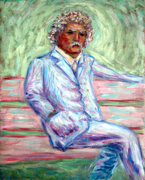 """Mark Twain"" Portrait oil painting and prints by Pointillistic/Impressionist painter Paul Berenson"