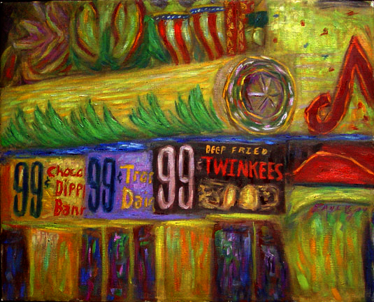 """Deep Fried Twinkees"" Las Vegas oil painting and prints by Pointillistic/Impressionist painter Paul Berenson"
