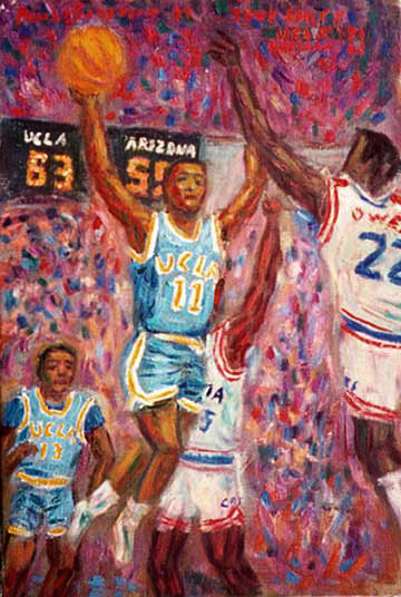 """Tyus Edney"" UCLA Basketball oil painting and prints by Pointillistic/Impressionist painter Paul Berenson"