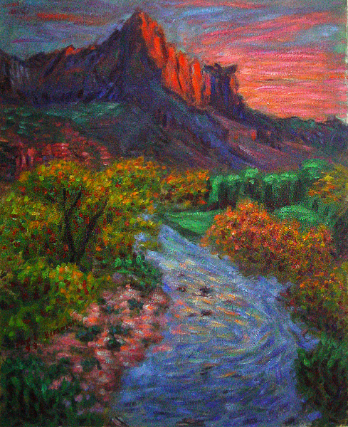 """The Watchman (Zion National Park Utah)"" National Park Utah oil painting and prints by Pointillistic/Impressionist painter Paul Berenson"