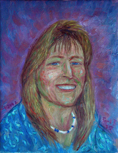 """Vikki Gardner"" Friend  Portrait oil painting and prints by Pointillistic/Impressionist painter Paul Berenson"