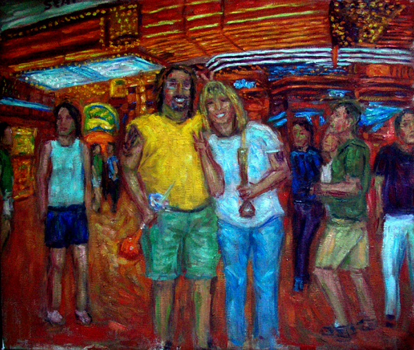 """Vikki & Marty In Vegas"" Vegas oil painting and prints by Pointillistic/Impressionist painter Paul Berenson"