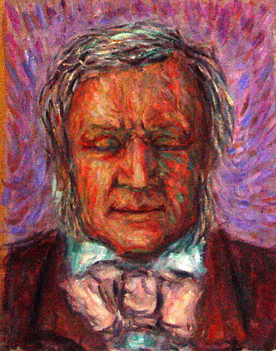 """Richard Wagner""  Portrait oil painting and prints by Pointillistic/Impressionist painter Paul Berenson"