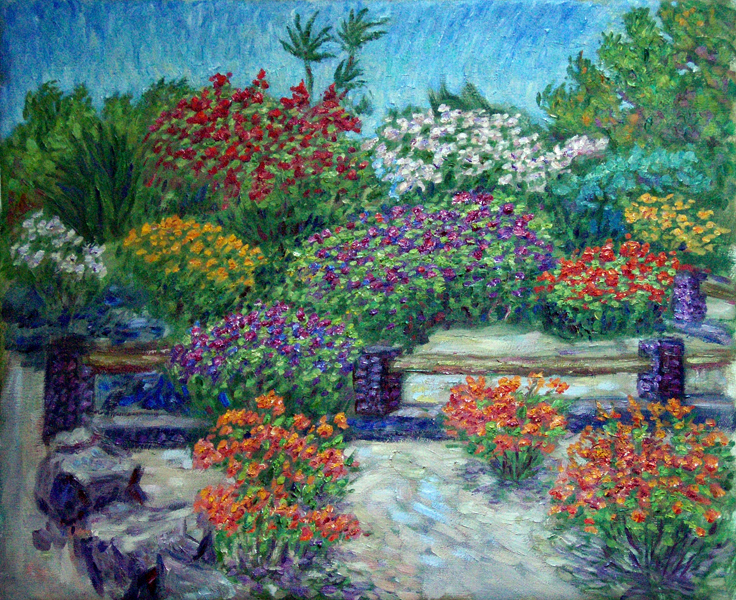 """Bouganvilla at Waikaluay"" Hawaii oil painting and prints by Pointillistic/Impressionist painter Paul Berenson"