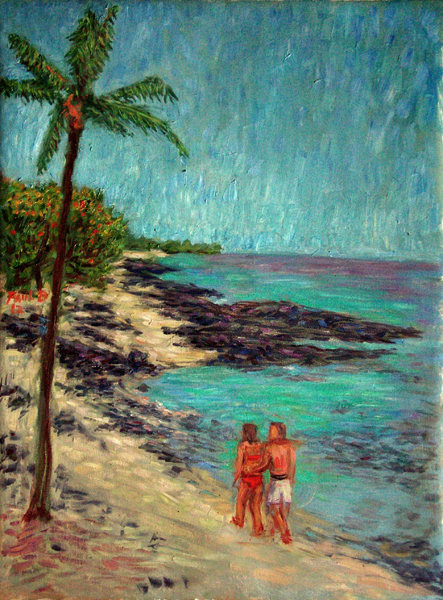 """Waikalua Beach Walk"" Hawaii oil painting and prints by Pointillistic/Impressionist painter Paul Berenson"