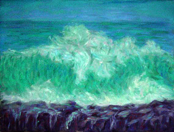 """Oahu North Shore""; Hawaii oil painting and prints by Pointillistic/Impressionist painter Paul Berenson"