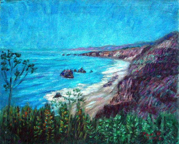 """Westport, Highway 1"" California Coast oil painting and prints by Pointillistic/Impressionist painter Paul Berenson"